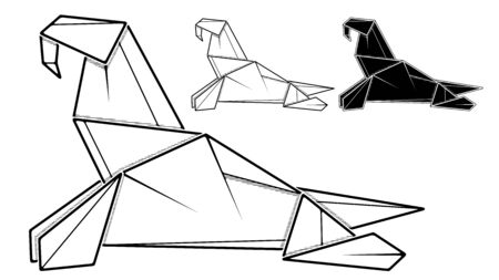 Vector monochrome image of paper walrus origami (contour drawing by line).