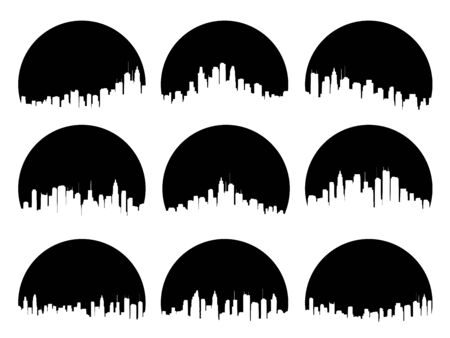Set of round black emblems of silhouettes sun behind the city high-rise skyscrapers.