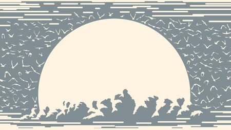 Simple one-color card with the sun setting behind clouds and a flock of birds around (place for text).