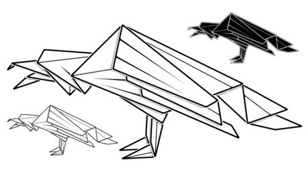 Vector monochrome image of paper raven origami (contour drawing by line).