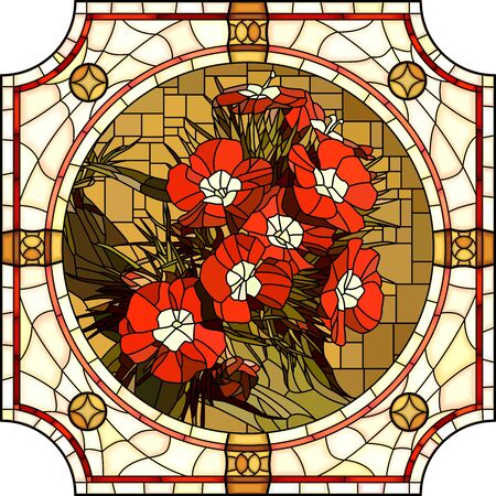 Vector mosaic with blooming red carnation flowers in a round decorative stained glass frame.  イラスト・ベクター素材