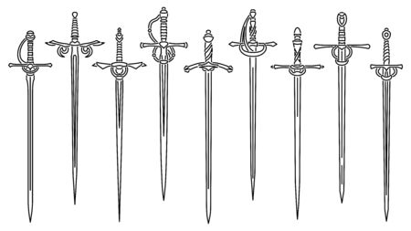 Set of simple vector images of rapiers and epees drawn in art line style. Vecteurs