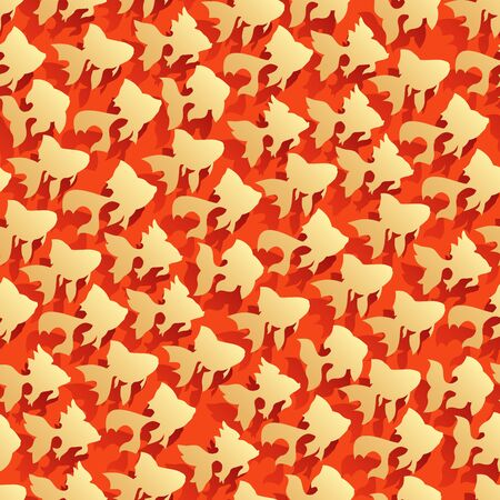 Seamless red abstract background with goldfish (gold fish) and shadows.