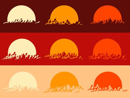 Set of round emblems of silhouettes sunset image, sun setting behind clouds.  イラスト・ベクター素材