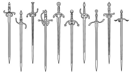 Set of simple vector images of rapiers and epees drawn in art line style.