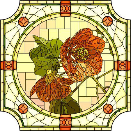 Vector mosaic with blooming two orange abutilon flowers in a round decorative stained glass frame.