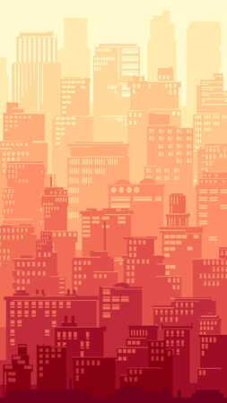 Vertical illustration of a stylized big city with downtown and skyscrapers at sunset colors.