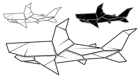 Vector monochrome image of paper shark origami (contour drawing by line).