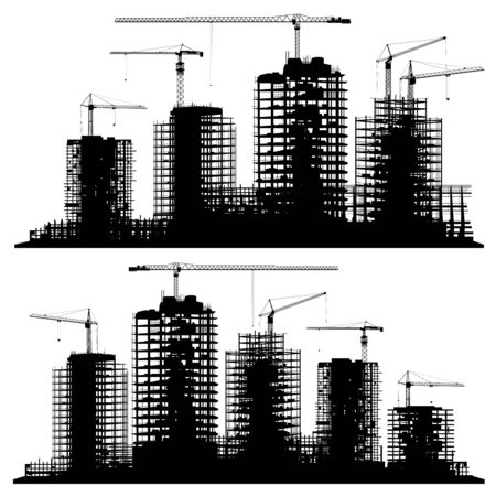 Set of silhouettes illustration of a construction site with cranes and skyscrapers.