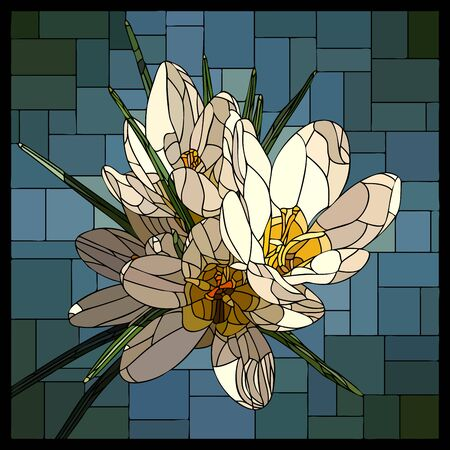 Vector square mosaic with blooming white crocuses flower in stained glass window.