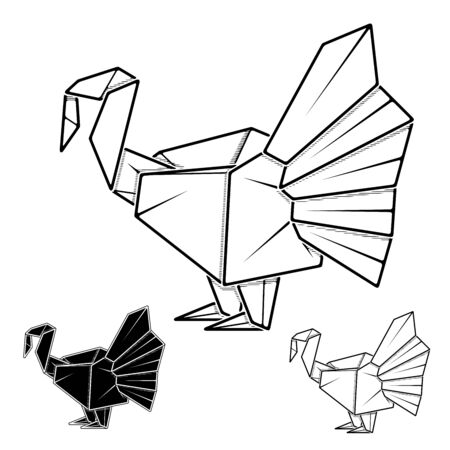 Vector monochrome image of paper turkey origami (contour drawing by line).