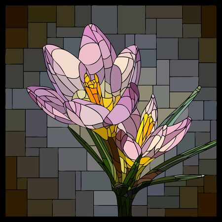 Vector square mosaic with blooming purple crocuses flower in stained glass window.