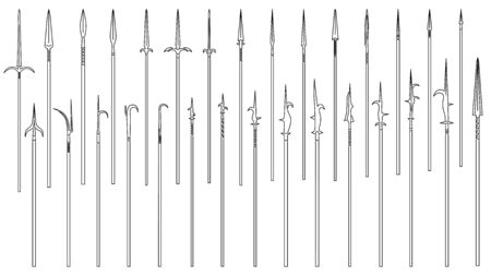 Set of simple vector images of medieval spears and halberds drawn in art line style. Stock Illustratie