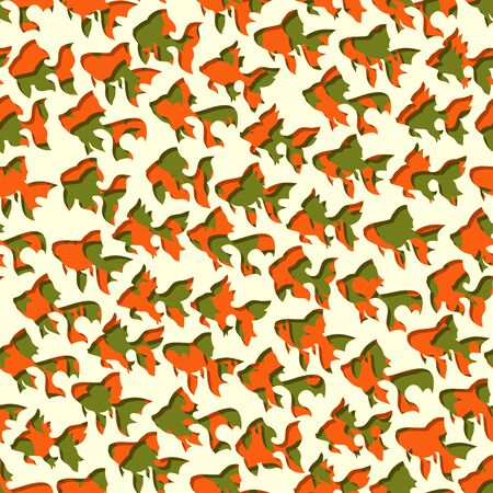 Abstract seamless background of puzzle fish with color mix (green and red).