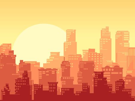 Horizontal illustration of a stylized cartoon big city with downtown and skyscrapers at sunset colors.