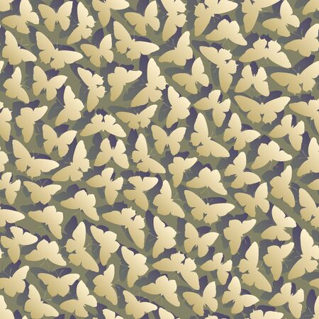Seamless green violet abstract background with moths (butterflies) and shadows. Stock Illustratie