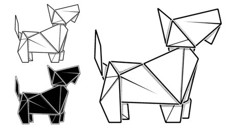 Vector monochrome image of paper origami of dog, terrier (contour drawing by line).
