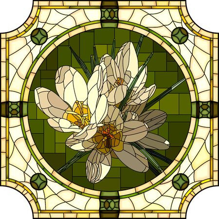Vector mosaic with blooming white crocuses flower in a round decorative stained glass frame.