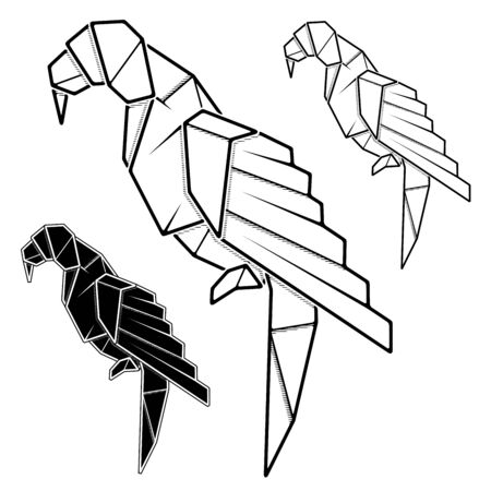 Vector monochrome image of paper parrot origami (contour drawing by line). Stock Illustratie