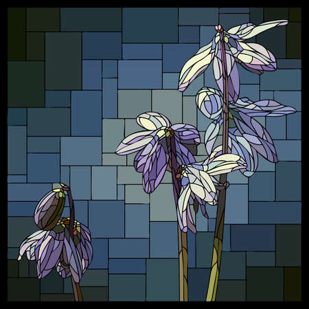 Vector square mosaic with blooming blue chionodoxa flower in stained glass window. Stock Illustratie