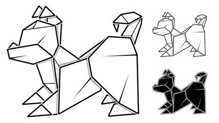 Vector monochrome image of paper origami of dog, puppy (contour drawing by line).