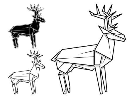 Vector monochrome image of paper origami of deer (contour drawing by line).