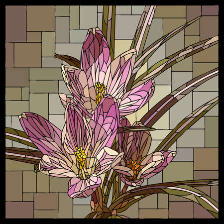 Vector square mosaic with blooming pink crocuses flower in stained glass window. Stock Illustratie