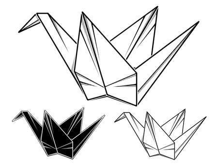 Vector simple illustration paper origami of crane. Stock Illustratie
