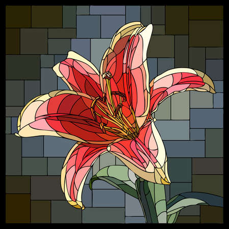 Vector square mosaic with blooming red lily flower in stained glass window. Stock Illustratie