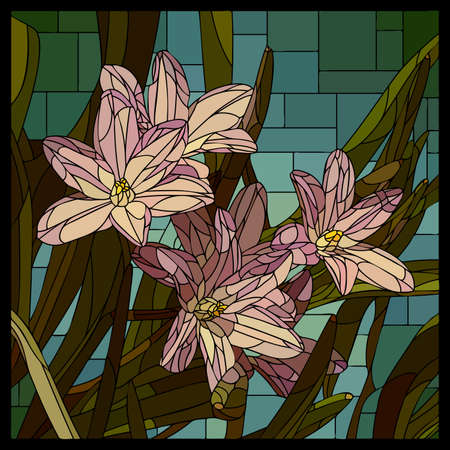 Vector square mosaic with blooming pink chionodoxa flower in stained glass window. Stock Illustratie