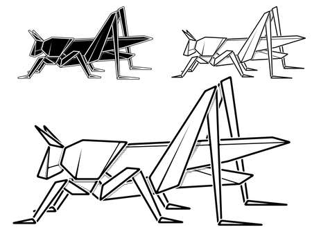 Vector monochrome image of paper origami of grasshopper (contour drawing by line). Stock Illustratie
