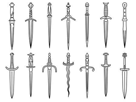 Set of simple vector images of medieval dirks and daggers drawn in art line style.