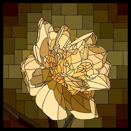 Vector square mosaic with blooming yellow narcissus flower in stained glass window.