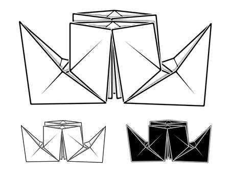 Vector monochrome image of paper origami of steamship (contour drawing by line).