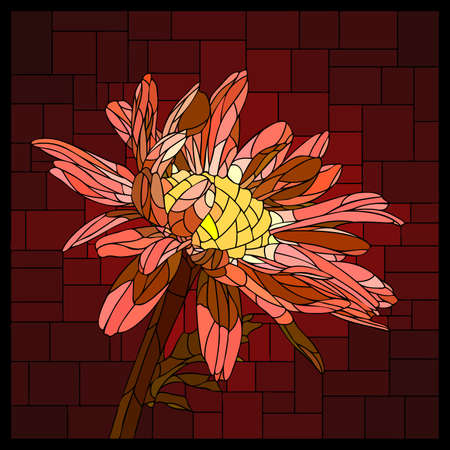 Vector square mosaic with blooming red pyrethrum flower in stained glass window. Stock Illustratie