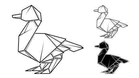 Vector monochrome image of paper origami of duck (contour drawing by line). Stock Illustratie