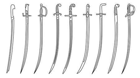 Set of simple vector images of saber swords with decorative hilts drawn in art line style. Stock Illustratie
