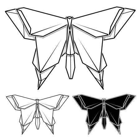 Vector monochrome image of paper origami of butterfly (contour drawing by line). Stock Illustratie