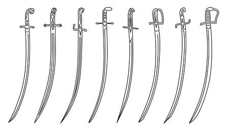 Set of simple vector images of cavalry swords with decorative hilts drawn in art line style.