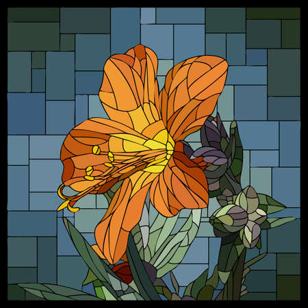 Vector square mosaic with blooming orange cyanosis flower in stained glass window.