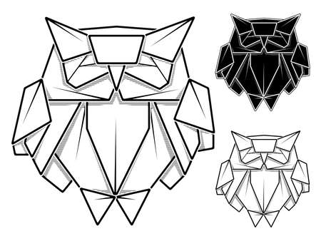 Vector monochrome image of paper origami of owl (contour drawing by line). Stock Illustratie