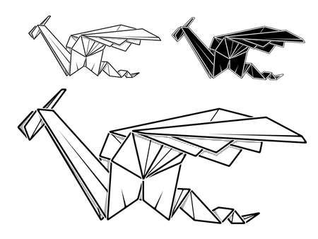 Vector monochrome image of paper origami of dragon (contour drawing by line).