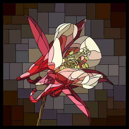 Vector square mosaic with blooming pink aquilegia flower in stained glass window.