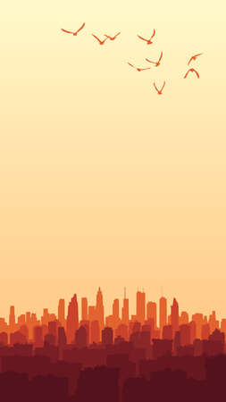 Vertical illustration of sunset with abstract big city and skyscrapers with a flock of birds.