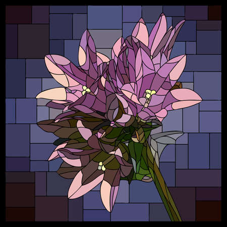 Vector square mosaic with blooming purple campanula flower in stained glass window. Stock Illustratie