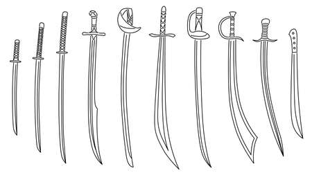 Set of simple vector images of exotic sabers and cutlasses drawn in art line style.