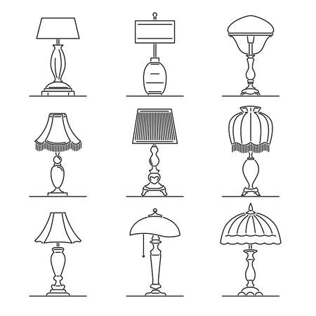 Set of simple vector images of retro table lamps with lampshade drawn in art line style. Vektorgrafik