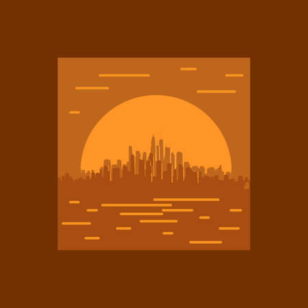 Square orange framed illustration of a large coastal city with skyscrapers at sunset.
