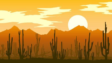 Horizontal illustration of desert with cacti and mountain rocks at sunset in orange tone. Illusztráció
