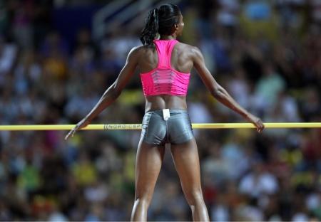 THESSALONIKI, GREECE -SEPTEMBER 12, 2009: Howard Lowe after a successful jump for the IAAF World Athletics Finals main event in Kaftatzoglio Stadium